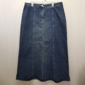 CAbi 714 Long Modest Denim Blue Jean Skirt 10